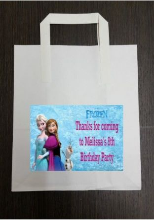 4 x Frozen Birthday Party Bags with Personalised Sticker